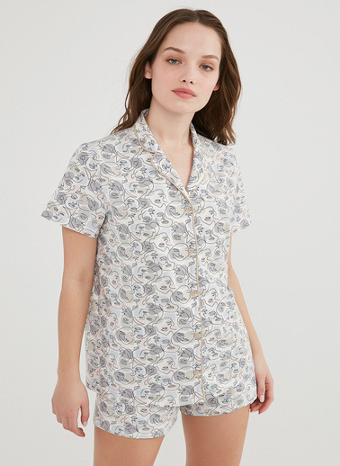 Penti Kadın Beyaz Sketch Gömlek Şort Pijama Takım PNDVVY7I21IY Beyaz
